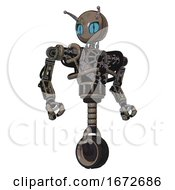 Droid Containing Grey Alien Style Head And Blue Grate Eyes And Bug Antennas And Heavy Upper Chest And No Chest Plating And Unicycle Wheel Patent Khaki Metal Hero Pose