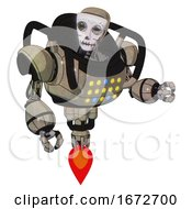 Mech Containing Humanoid Face Mask And Skeleton War Paint And Heavy Upper Chest And Colored Lights Array And Jet Propulsion Grungy Fiberglass Fight Or Defense Pose