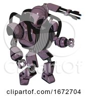 Cyborg Containing Grey Alien Style Head And Black Eyes And Bug Antennas And Heavy Upper Chest And Chest Vents And Prototype Exoplate Legs Lilac Metal Fight Or Defense Pose