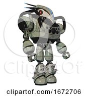 Droid Containing Bird Skull Head And Red Line Eyes And Head Shield Design And Heavy Upper Chest And Chest Compound Eyes And Light Leg Exoshielding And Spike Foot Mod Green Metal Facing Left View