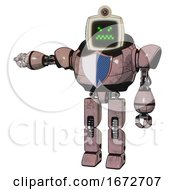 Automaton Containing Old Computer Monitor And Angry Pixels Face And Retro Futuristic Webcam And Heavy Upper Chest And Blue Shield Defense Design And Prototype Exoplate Legs Powder Pink Metal