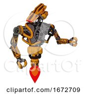 Automaton Containing Dual Retro Camera Head And Laser Gun Head And Heavy Upper Chest And No Chest Plating And Jet Propulsion Primary Yellow Halftone Fight Or Defense Pose