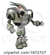 Droid Containing Bird Skull Head And Red Line Eyes And Head Shield Design And Heavy Upper Chest And Chest Compound Eyes And Light Leg Exoshielding And Spike Foot Mod Green Metal Interacting
