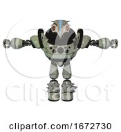 Droid Containing Bird Skull Head And Red Line Eyes And Head Shield Design And Heavy Upper Chest And Chest Compound Eyes And Light Leg Exoshielding And Spike Foot Mod Green Metal T Pose
