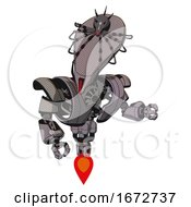 Cyborg Containing Flat Elongated Skull Head And Spider Crown And Heavy Upper Chest And Heavy Mech Chest And Jet Propulsion Halftone Gray Fight Or Defense Pose