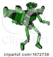 Mech Containing Dual Retro Camera Head And Simple Blue Telescopic Eye Head And Light Chest Exoshielding And Ultralight Chest Exosuit And Stellar Jet Wing Rocket Pack And Ultralight Foot Exosuit