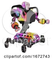 Poster, Art Print Of Robot Containing Humanoid Face Mask And Blood Tears And Heavy Upper Chest And Chest Vents And Insect Walker Legs Plasma Burst Interacting