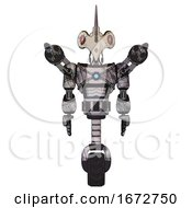 Bot Containing Bird Skull Head And Red Line Eyes And Light Chest Exoshielding And Blue Energy Core And Minigun Back Assembly And Unicycle Wheel Scribble Sketch Front View