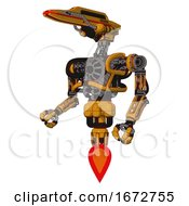 Automaton Containing Dual Retro Camera Head And Laser Gun Head And Heavy Upper Chest And No Chest Plating And Jet Propulsion Primary Yellow Halftone Facing Right View