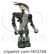 Robot Containing Bird Skull Head And Brass Steampunk Eyes And Head Shield Design And Heavy Upper Chest And No Chest Plating And Light Leg Exoshielding Old Corroded Copper Facing Left View