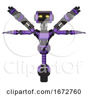 Poster, Art Print Of Automaton Containing Dual Retro Camera Head And Retro Tech Device Head And Light Chest Exoshielding And Ultralight Chest Exosuit And Minigun Back Assembly And Unicycle Wheel