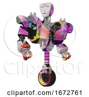 Poster, Art Print Of Cyborg Containing Humanoid Face Mask And Spiral Design And Heavy Upper Chest And Heavy Mech Chest And Shoulder Spikes And Unicycle Wheel Plasma Burst Hero Pose