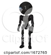 Bot Containing Round Head And Vertical Cyclops Visor And Head Light Gadgets And Light Chest Exoshielding And Ultralight Chest Exosuit And Ultralight Foot Exosuit Clean Black