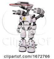 Poster, Art Print Of Bot Containing Dual Retro Camera Head And Laser Gun Head And Light Chest Exoshielding And Yellow Star And Minigun Back Assembly And Light Leg Exoshielding And Spike Foot Mod White Halftone Toon