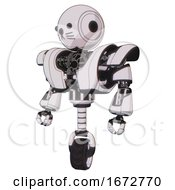 Bot Containing Round Head And Heavy Upper Chest And Heavy Mech Chest And Unicycle Wheel And Cat Face White Halftone Toon Standing Looking Right Restful Pose