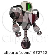 Bot Containing Old Computer Monitor And Three Lines Pixel Design And Heavy Upper Chest And Red Shield Defense Design And Unicycle Wheel Dusty Rose Red Metal Facing Left View
