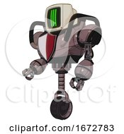 Bot Containing Old Computer Monitor And Three Lines Pixel Design And Heavy Upper Chest And Red Shield Defense Design And Unicycle Wheel Dusty Rose Red Metal Facing Right View