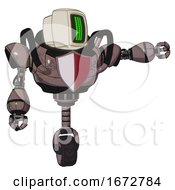 Bot Containing Old Computer Monitor And Three Lines Pixel Design And Heavy Upper Chest And Red Shield Defense Design And Unicycle Wheel Dusty Rose Red Metal Pointing Left Or Pushing A Button