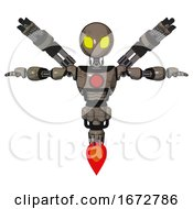 Poster, Art Print Of Mech Containing Grey Alien Style Head And Yellow Eyes And Light Chest Exoshielding And Red Chest Button And Minigun Back Assembly And Jet Propulsion Patent Khaki Metal T-Pose