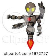 Mech Containing Grey Alien Style Head And Yellow Eyes And Light Chest Exoshielding And Red Chest Button And Minigun Back Assembly And Jet Propulsion Patent Khaki Metal