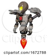 Poster, Art Print Of Mech Containing Grey Alien Style Head And Yellow Eyes And Light Chest Exoshielding And Red Chest Button And Minigun Back Assembly And Jet Propulsion Patent Khaki Metal
