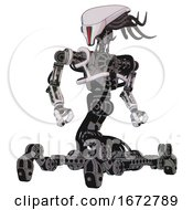 Bot Containing Flat Elongated Skull Head And Cables And Heavy Upper Chest And No Chest Plating And Insect Walker Legs White Halftone Toon Hero Pose