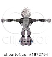 Robot Containing Round Fiber Optic Connectors Head And Heavy Upper Chest And No Chest Plating And Light Leg Exoshielding Dark Dirty Scrawl Sketch T Pose