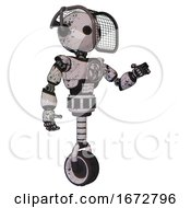 Bot Containing Oval Wide Head And Barbed Wire Visor Helmet And Light Chest Exoshielding And Chest Valve Crank And Unicycle Wheel Grunge Sketch Dots Interacting