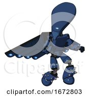 Mech Containing Flat Elongated Skull Head And Light Chest Exoshielding And Prototype Exoplate Chest And Cherub Wings Design And Light Leg Exoshielding And Spike Foot Mod Dark Blue Halftone