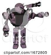 Cyborg Containing Grey Alien Style Head And Black Eyes And Bug Antennas And Heavy Upper Chest And Chest Vents And Prototype Exoplate Legs Lilac Metal Pointing Left Or Pushing A Button