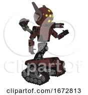 Poster, Art Print Of Droid Containing Round Head And Yellow Eyes Array And Head Winglets And Light Chest Exoshielding And Prototype Exoplate Chest And Minigun Back Assembly And Tank Tracks Steampunk Copper Interacting