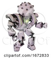 Cyborg Containing Plughead Dome Design And Heavy Upper Chest And Heavy Mech Chest And Green Energy Core And Prototype Exoplate Legs Sketch Pad Dots Pattern Fight Or Defense Pose