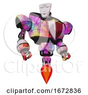 Poster, Art Print Of Android Containing Humanoid Face Mask And Spiral Design And Heavy Upper Chest And Red Shield Defense Design And Jet Propulsion Plasma Burst Hero Pose