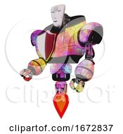 Poster, Art Print Of Android Containing Humanoid Face Mask And Spiral Design And Heavy Upper Chest And Red Shield Defense Design And Jet Propulsion Plasma Burst Facing Right View