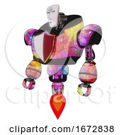 Poster, Art Print Of Android Containing Humanoid Face Mask And Spiral Design And Heavy Upper Chest And Red Shield Defense Design And Jet Propulsion Plasma Burst Standing Looking Right Restful Pose