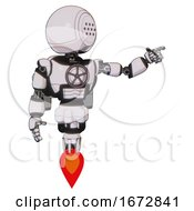 Cyborg Containing Dots Array Face And Light Chest Exoshielding And Chest Valve Crank And Rocket Pack And Jet Propulsion White Halftone Toon Pointing Left Or Pushing A Button