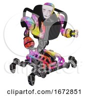 Robot Containing Humanoid Face Mask And Blood Tears And Heavy Upper Chest And Chest Vents And Insect Walker Legs Plasma Burst Fight Or Defense Pose
