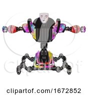 Poster, Art Print Of Robot Containing Humanoid Face Mask And Blood Tears And Heavy Upper Chest And Chest Vents And Insect Walker Legs Plasma Burst T-Pose