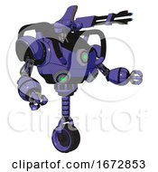 Cyborg Containing Dual Retro Camera Head And Reversed Fin Head And Heavy Upper Chest And Chest Green Energy Cores And Unicycle Wheel Primary Blue Halftone Interacting