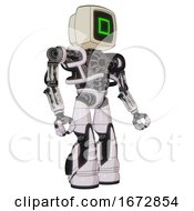 Automaton Containing Old Computer Monitor And Pixel Square Design And Heavy Upper Chest And No Chest Plating And Light Leg Exoshielding And Stomper Foot Mod White Halftone Toon Facing Left View