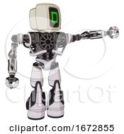 Automaton Containing Old Computer Monitor And Pixel Square Design And Heavy Upper Chest And No Chest Plating And Light Leg Exoshielding And Stomper Foot Mod White Halftone Toon