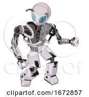 Robot Containing Grey Alien Style Head And Blue Grate Eyes And Bug Antennas And Heavy Upper Chest And No Chest Plating And Prototype Exoplate Legs White Halftone Toon Fight Or Defense Pose