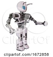 Robot Containing Grey Alien Style Head And Blue Grate Eyes And Bug Antennas And Heavy Upper Chest And No Chest Plating And Prototype Exoplate Legs White Halftone Toon Interacting