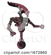 Robot Containing Flat Elongated Skull Head And Heavy Upper Chest And No Chest Plating And Unicycle Wheel Muavewood Halftone Interacting