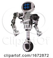 Bot Containing Digital Display Head And Hashtag Face And Heavy Upper Chest And No Chest Plating And Unicycle Wheel White Halftone Toon Hero Pose
