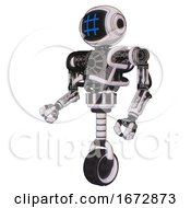Bot Containing Digital Display Head And Hashtag Face And Heavy Upper Chest And No Chest Plating And Unicycle Wheel White Halftone Toon Facing Right View