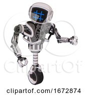 Bot Containing Digital Display Head And Hashtag Face And Heavy Upper Chest And No Chest Plating And Unicycle Wheel White Halftone Toon Fight Or Defense Pose