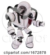 Android Containing Cable Connector Head And Heavy Upper Chest And Red Shield Defense Design And Light Leg Exoshielding White Halftone Toon Fight Or Defense Pose