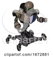 Droid Containing Grey Alien Style Head And Green Inset Eyes And Heavy Upper Chest And Blue Shield Defense Design And Insect Walker Legs Patent Khaki Metal Fight Or Defense Pose