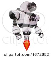 Robot Containing Cable Connector Head And Heavy Upper Chest And Chest Compound Eyes And Jet Propulsion White Halftone Toon Facing Left View
